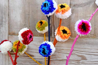 Rainbow Pom-pom Flower Decoration
