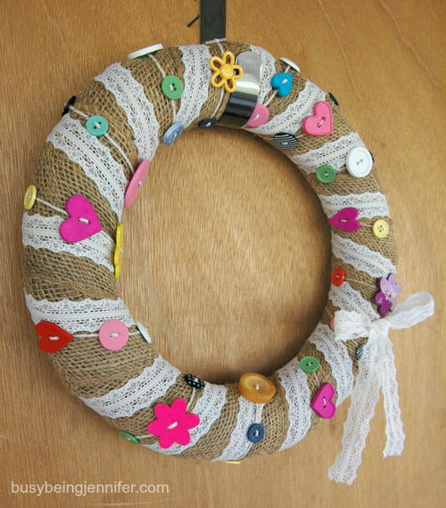 Burlap, Lace And Buttons Wreath