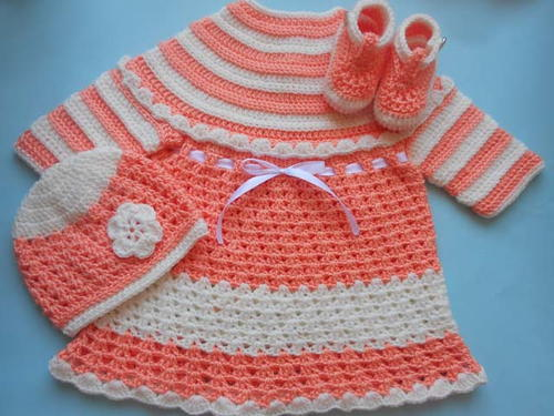 Baby Dress with Hat Booties and Mittens