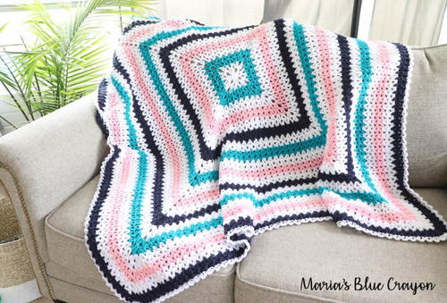 V Stitch Granny Square Blanket
