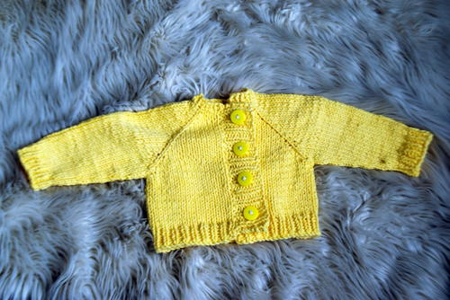 Sunshine Yellow Knit Baby Cardigan