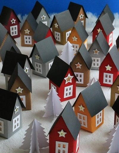Scandinavian-Inspired Paper Village Advent Calendar