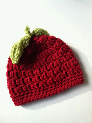 Adorable Red Apple Crochet Baby Hat