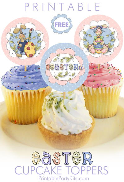 Printable Easter Bunny Cupcake Picks