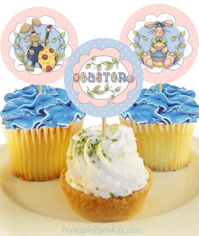 Country Bunny Easter Cupcake Toppers