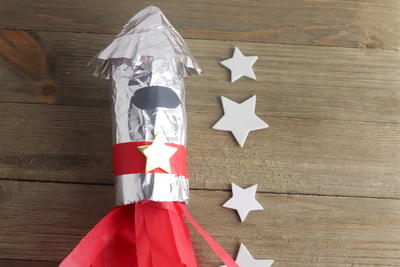 Recycled Toilet Paper Roll Rocket Craft