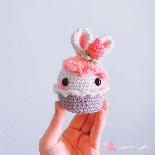 Bunny Rabbit Strawberry Cupcake Food Dessert Amigurumi