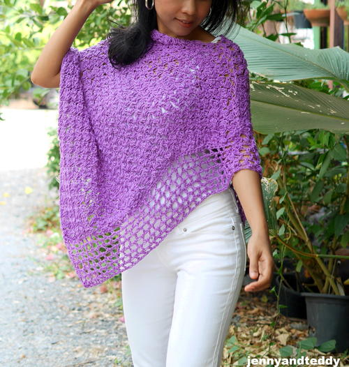 The Easiest Purple Poncho Wrap
