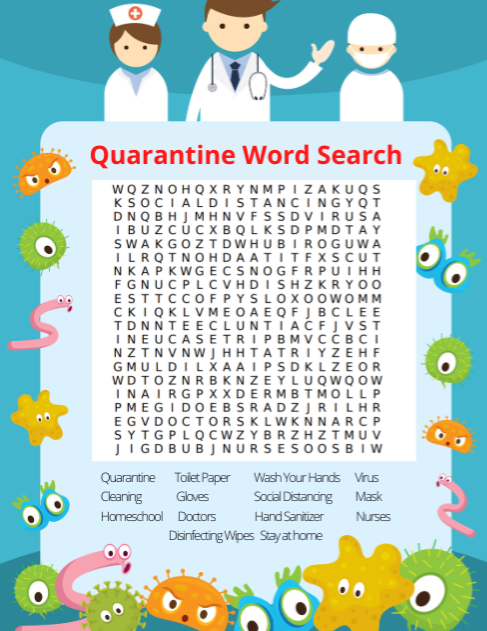 Free Printable Quarantine Word Search For Kids