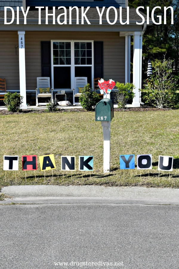 DIY Thank You Yard Sign to thank essential workers