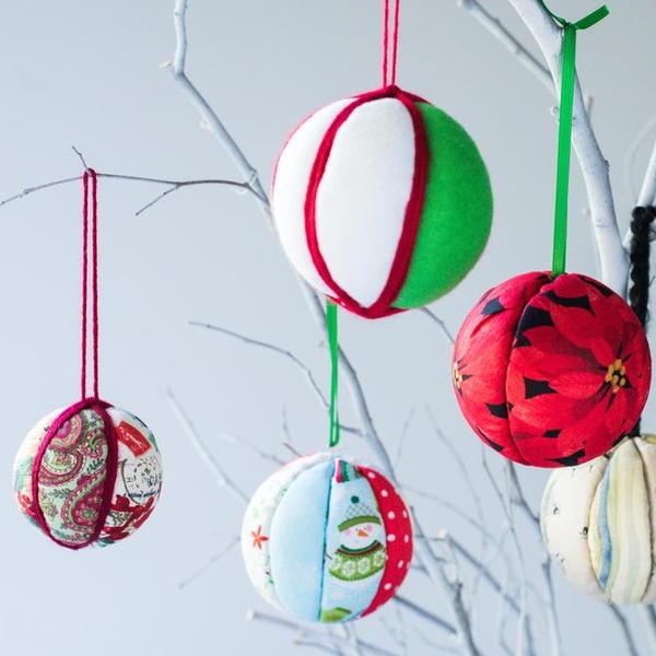 No-Sew Fabric Ornament Balls