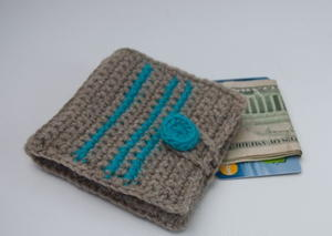 Striped Wool Crochet Wallet