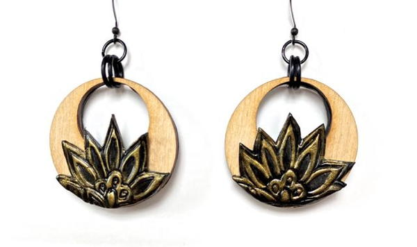 Wood And Clay Flowered Earrings