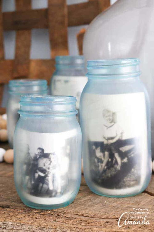 Frosted Mason Jar Photo Frames