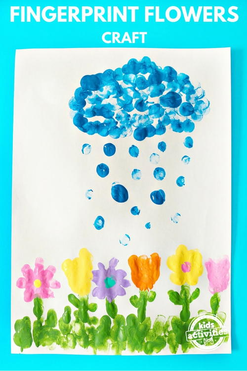 April Showers Bring May Flowers Fingerprint Craft