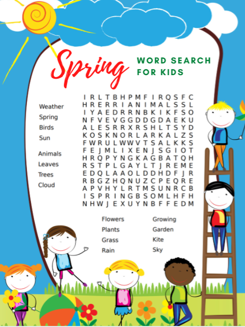 Free Printable Spring Word Search For Kids