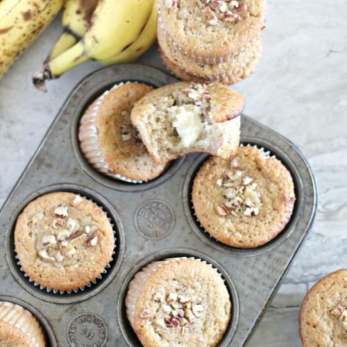 Cream Cheese Filled Banana Bread Muffins