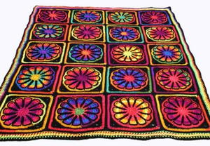 Funky Floral Crochet Throw Pattern