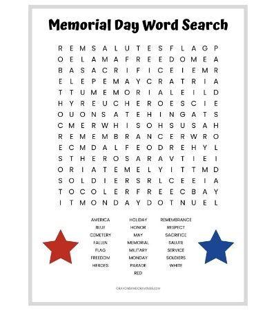 Memorial Day Word Search Printable | AllFreePaperCrafts.com