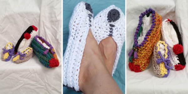 Three images side-by-side showing the quick crochet slippers in various sizes and colors.