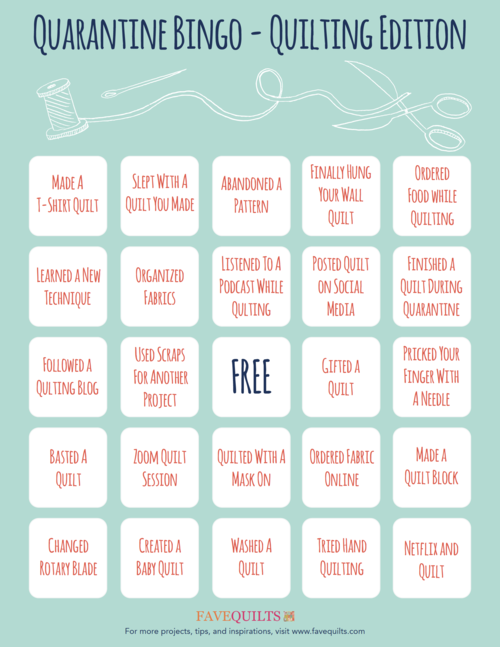 Quarantine Bingo Quilting Edition
