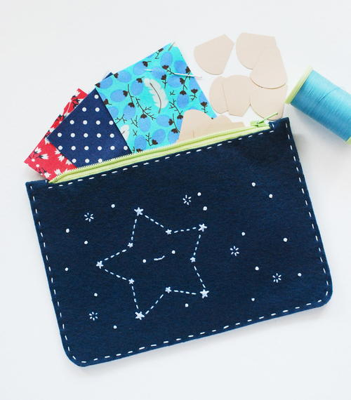 Simple Starry Zip Pouch
