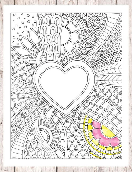Fun Heart Coloring Page
