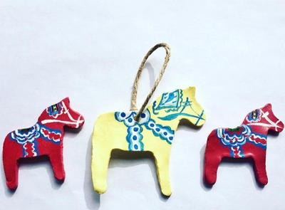 DIY Clay Swedish Dala Horse Ornaments