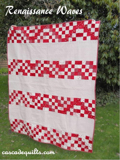 Red Renaissance Waves Quilt