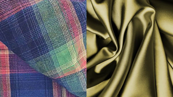 Image shows close-up of flannel fabric on the left and a close-up of green silk on the right.