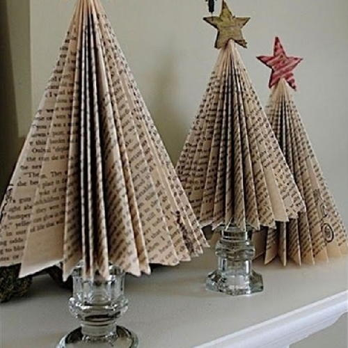 Festive Folded Book Page Tree