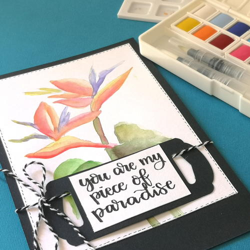 Tropical Flower Watercolour Card