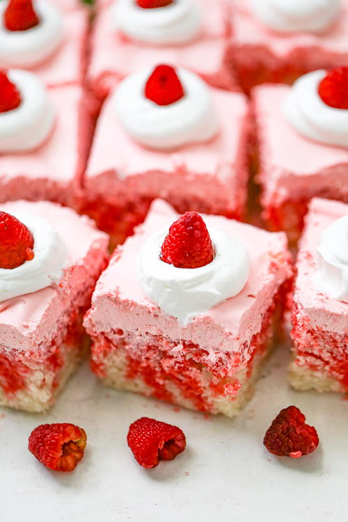 Raspberry Cream Jello Poke Cake