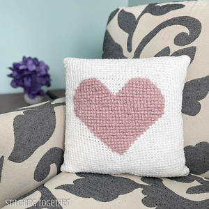Here's My Heart Crochet Pillow