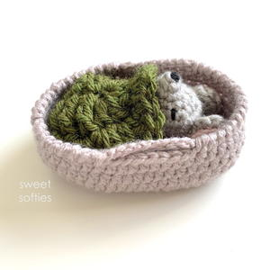 Baby Mouse In Moses Basket Amigurumi Doll