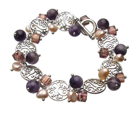 Vintage-look Amethyst  Pearl Dangle Bracelet