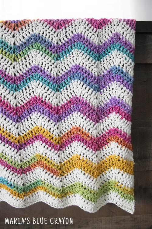 Rainbow Chevron Blanket Crochet Pattern