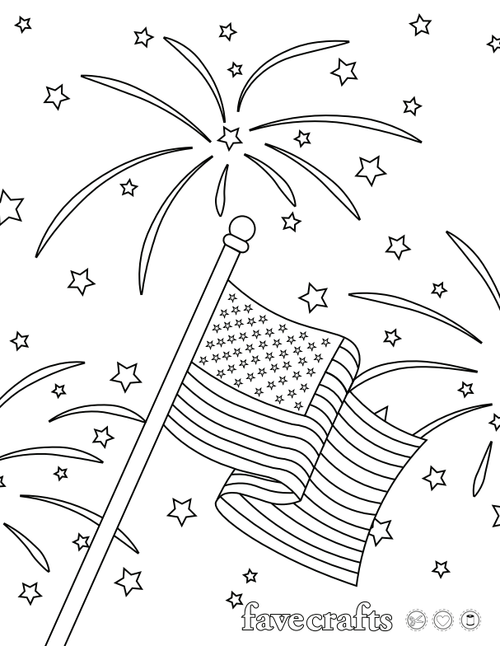 Patriotic Fireworks Coloring Page
