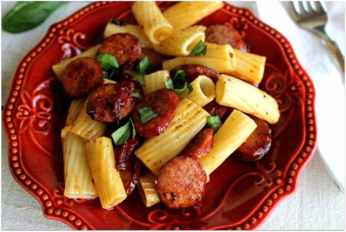 Italian Rigatoni With Smoked Sausage And Sundried Tomatoes