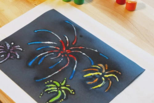 Fireworks Raised Salt Painting
