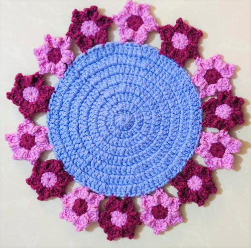 Flower Motif Edged Crochet Table Mat