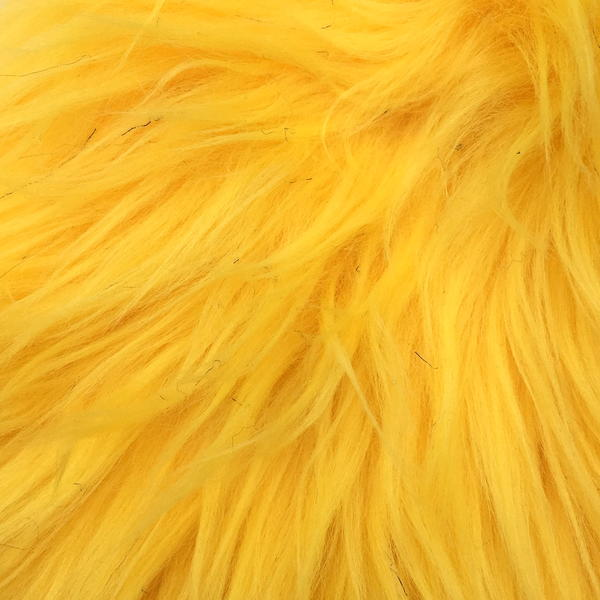 Image shows a close-up of yellow faux fur.