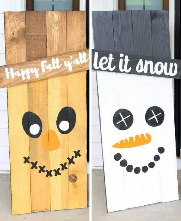 Reversible Snowman Wood Sign