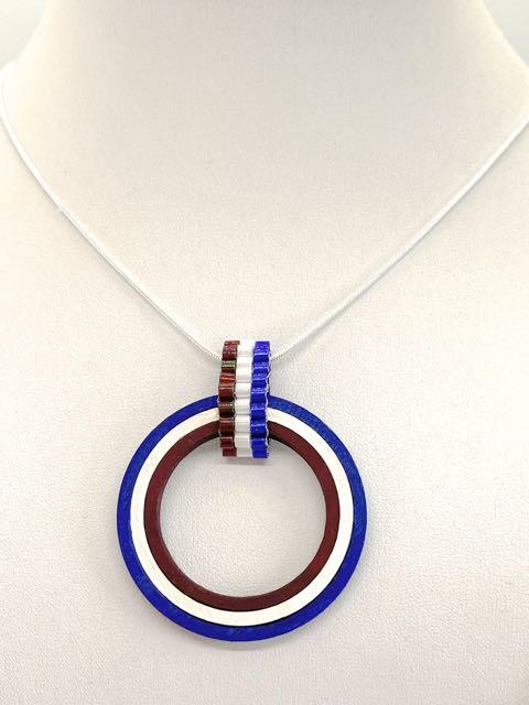 Bead And Wood Patriotic Pendant