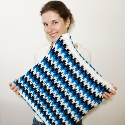 Azure Memories Crochet Pillow