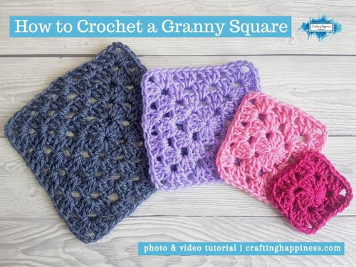 How To Crochet A Granny Square | Crafting Happiness