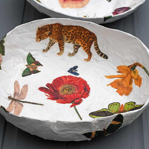 Large Paper Mache Vintage Decoupage Bowl