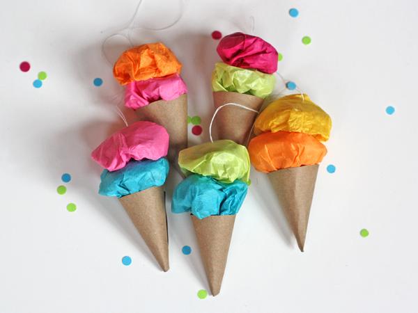 Easy Paper Ice Cream Ornaments