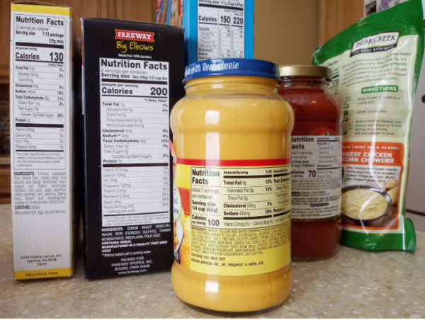 Pantry staples such as dried soup, dried pasta, and cheese sauce