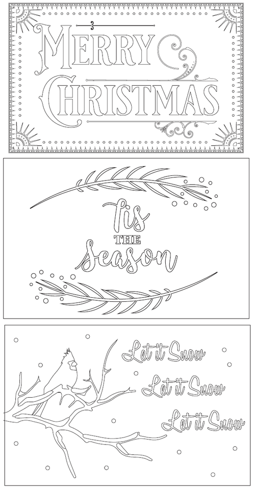 3 Free Printable Christmas Cards to Color